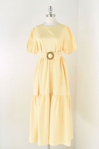 PUFFY SLEEVE TIERED DRESS WITH BELT