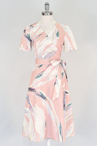 ABSTRACT STROKE SLEEVE WRAP DRESS