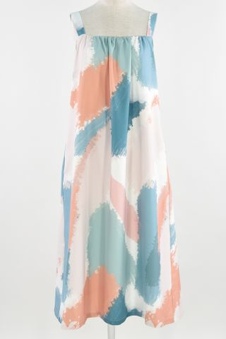 ABSTRACT BRUSH STROKE GATHERED DRESS