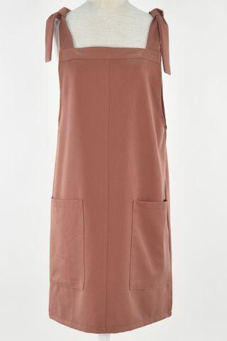 SHOULDER TIE POCKET DRESS