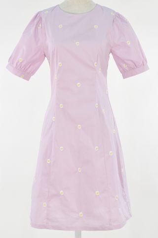 EMBROIDERY DAISY PUFFY SLEEVE SEAM DRESS