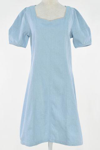 DENIM PUFFY SLEEVE SQUARE NECKLINE DRESS