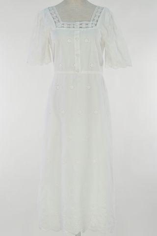 LATTICE EYELET SQAURE NECKLINE BUTTON DRESS