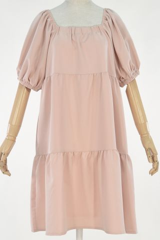 PUFFY SLEEVE SQUARE NECKLINE TIERED BABYDOLL DRESS